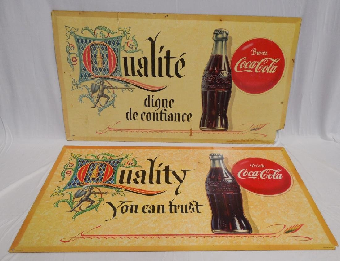 Lot of 2 Double-Sided Coca-Cola Cardboard Ads