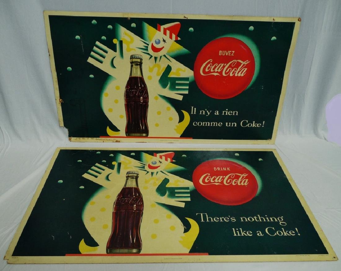 Lot of 2 Double-Sided Coca-Cola Cardboard Ads - 2