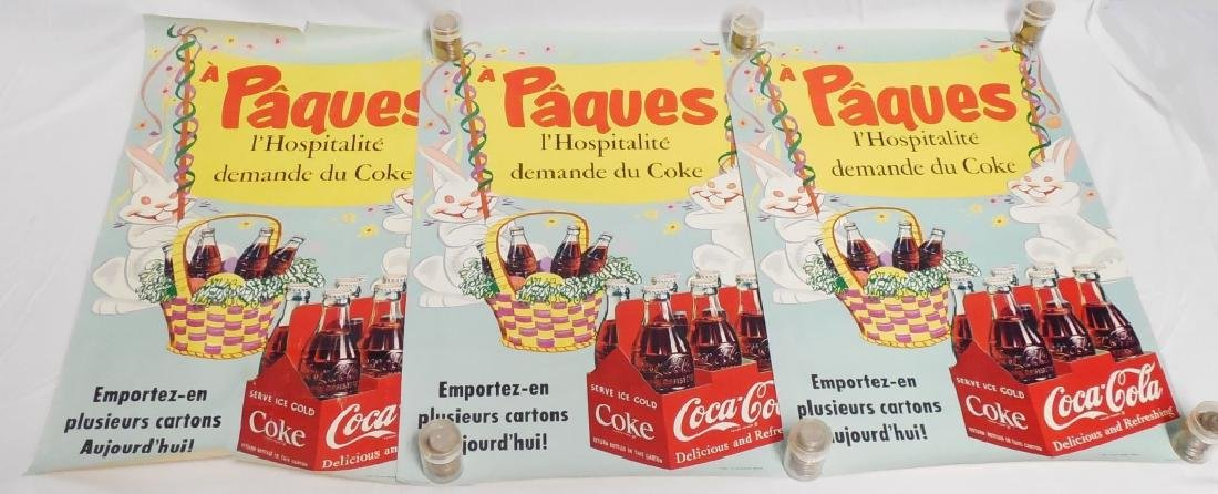 Lot of 3 Foreign Coca-Cola Easter Poster Ads
