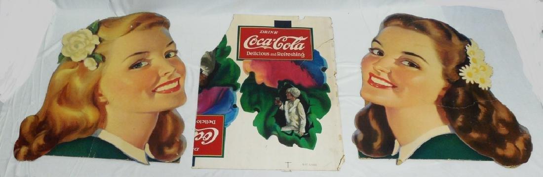 Lot of 3 Cardboard Coca-Cola Advertisement Pieces