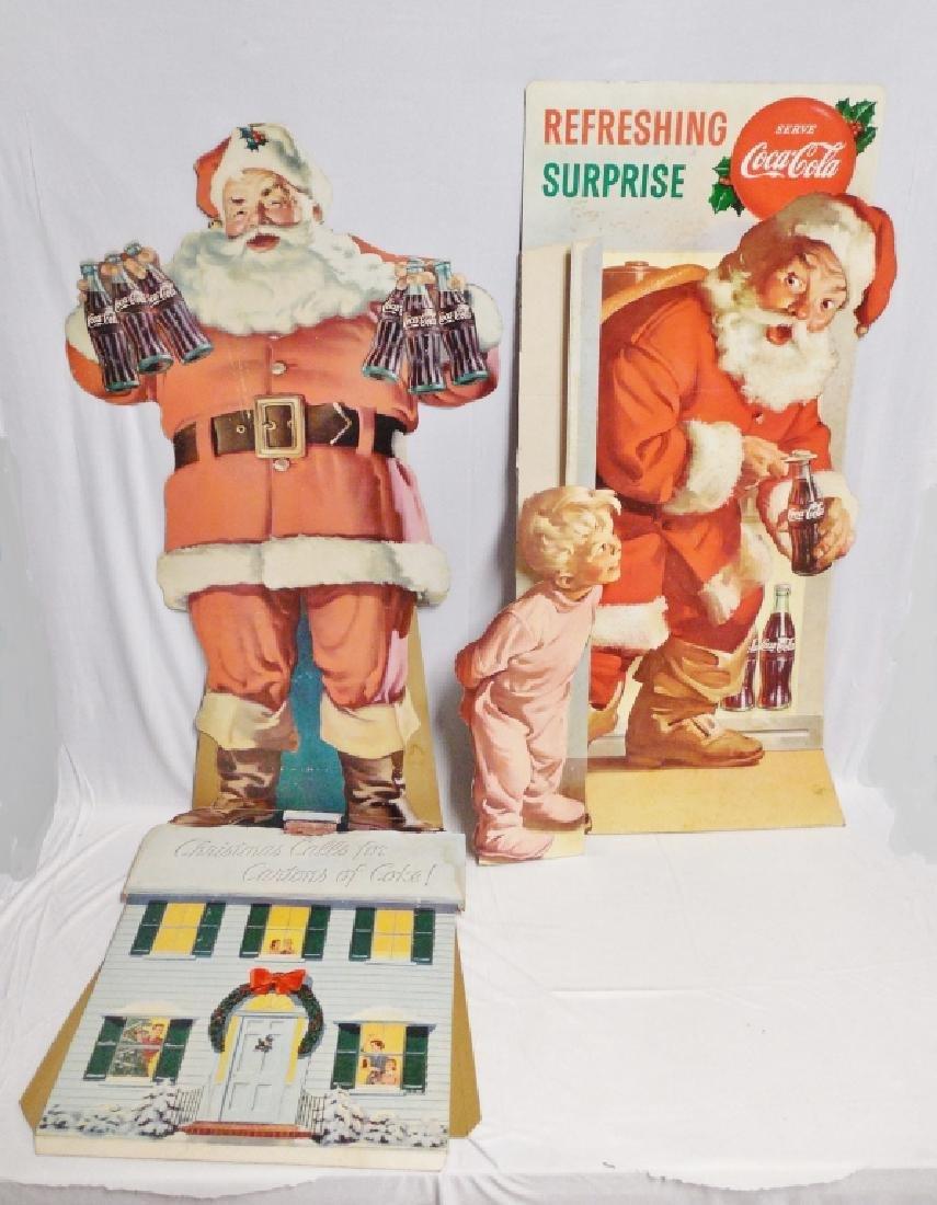 Lot of 2 Die-Cut Coca-Cola Cardboard Santa Ads