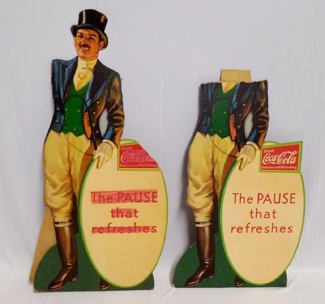 Lot of 2 Die-Cut Cardboard Jockey Coca-Cola Signs