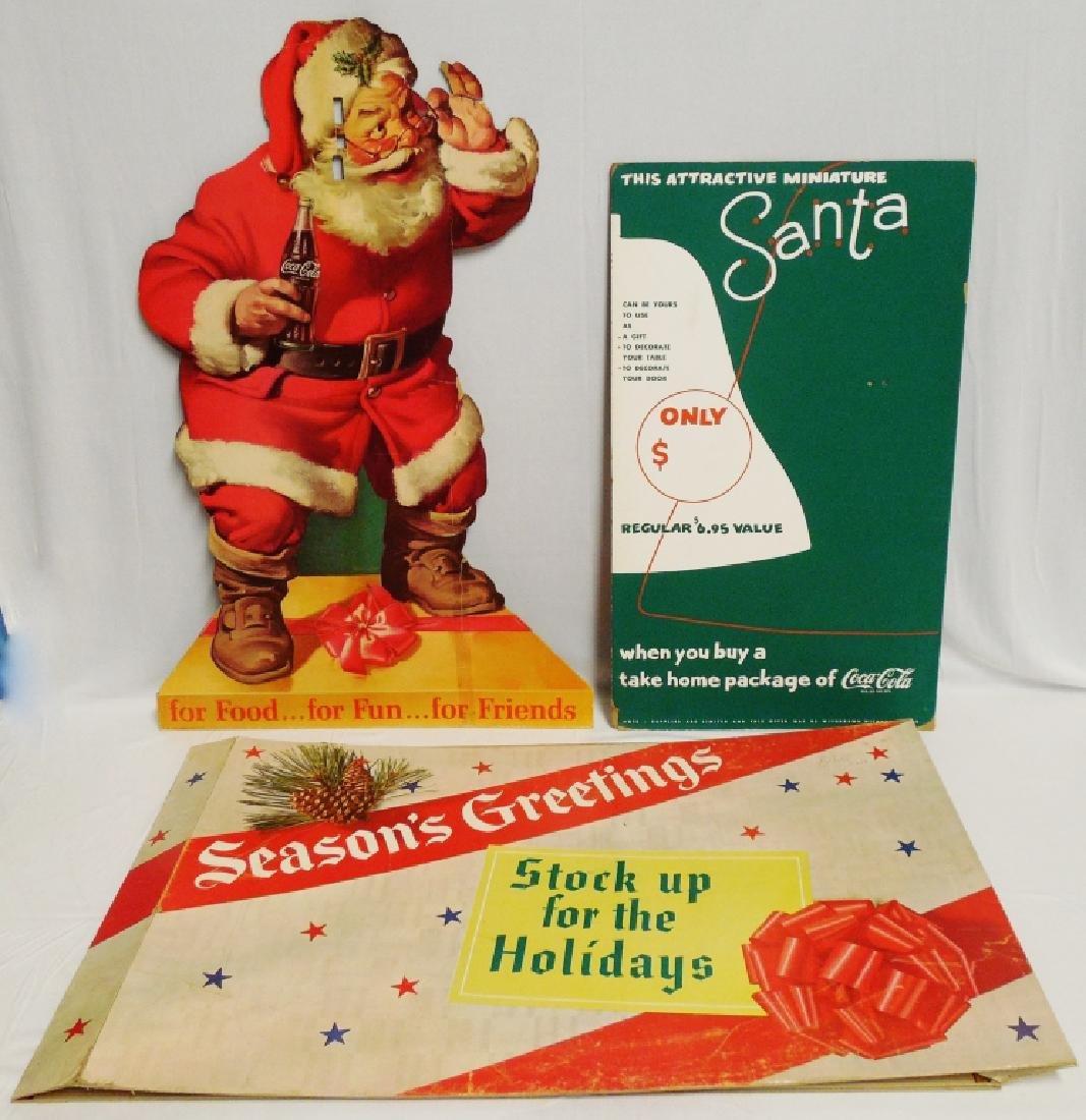 Lot of 3 Christmas Season Coca-Cola Cardboard Ads