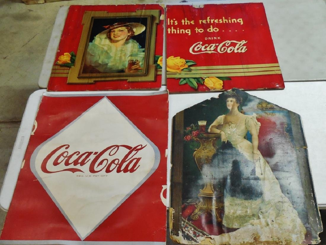 Lot of 4 Coca-Cola Cardboard Advertisements
