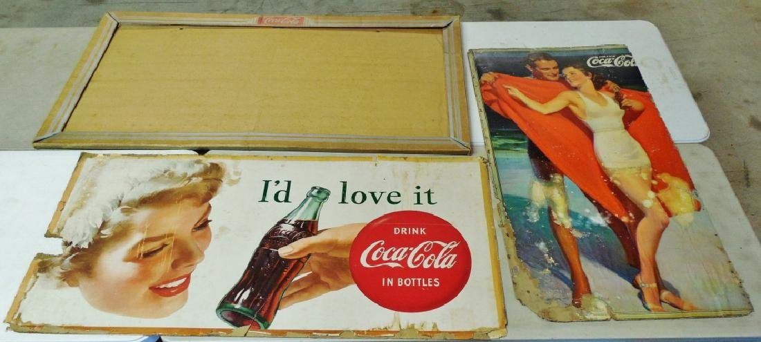 Lot of 2 Cardboard Coca-Cola Signs and Frame