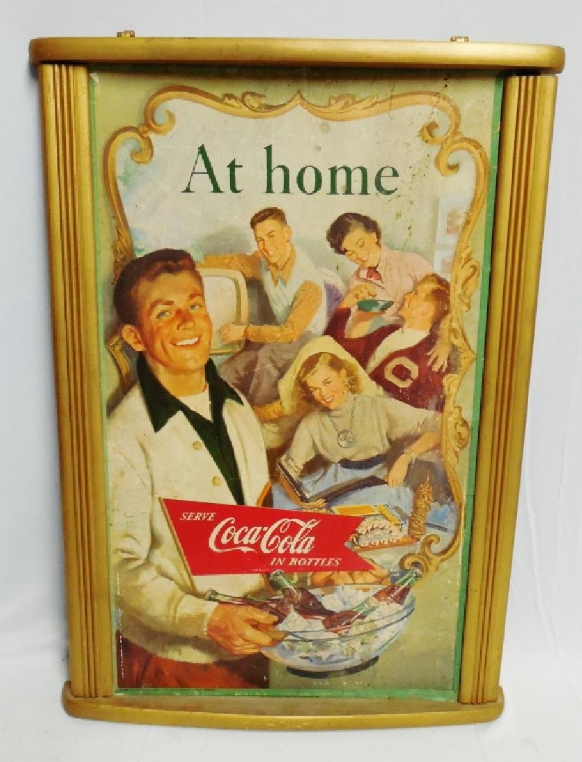 """At Home Coca-Cola Cardboard Ad"" with Wooden Frame"