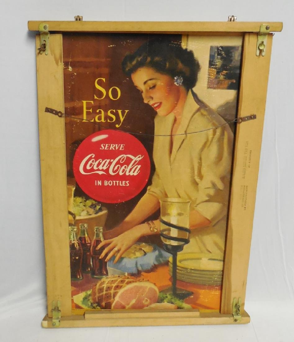 """At Home Coca-Cola Cardboard Ad"" with Wooden Frame - 2"
