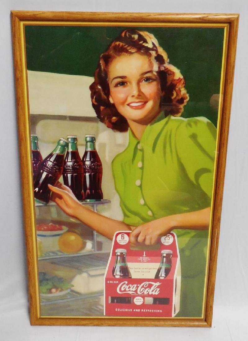 Framed Coca-Cola Six Pack Cardboard Advertisement