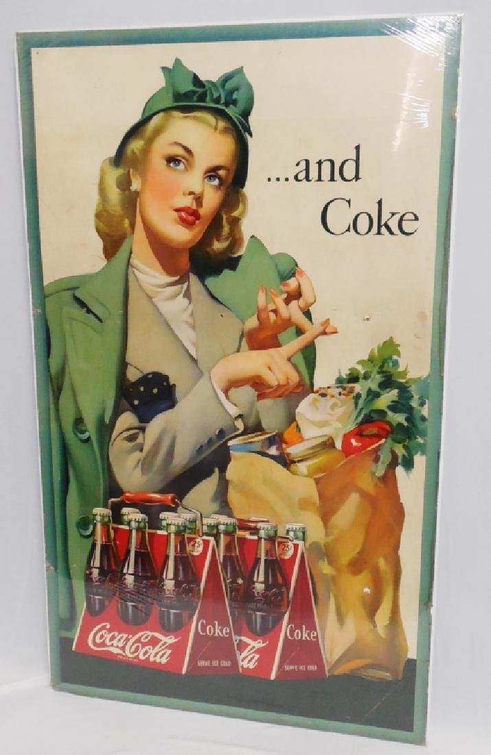 """...and Coke"" Cardboard Advertisement"