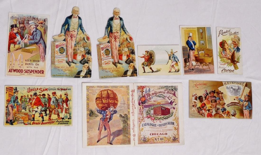 Lot of 9 Uncle Sam Trade Cards