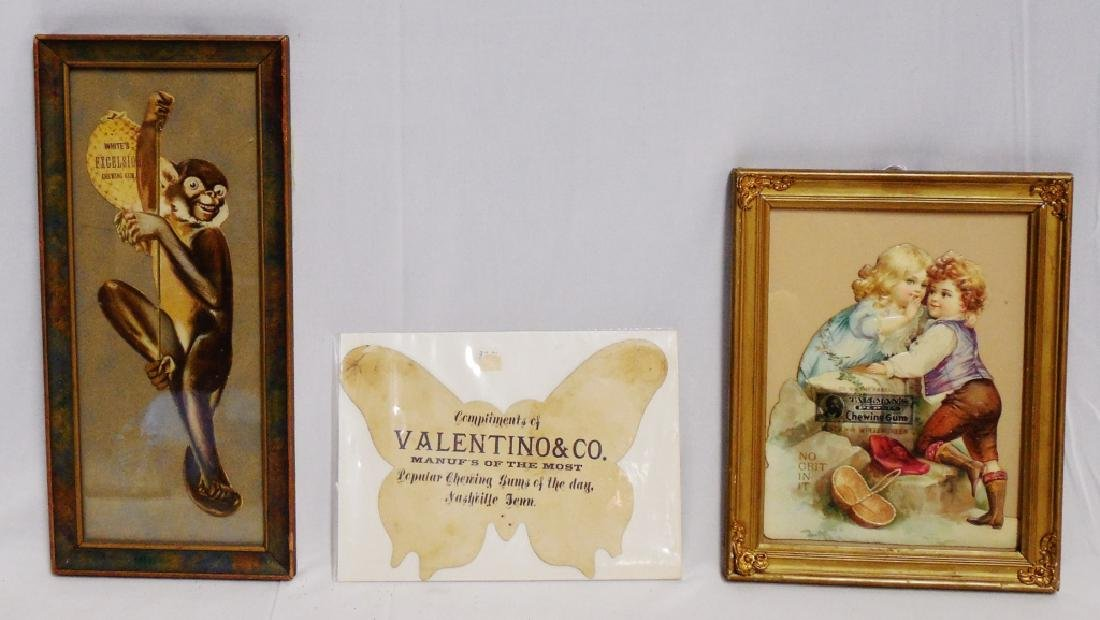 Lot of 3 Early Framed Chewing Gum Cut-Outs