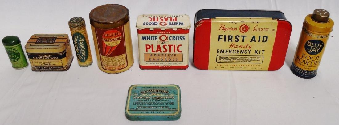 Lot of 8 Medicinal Tins