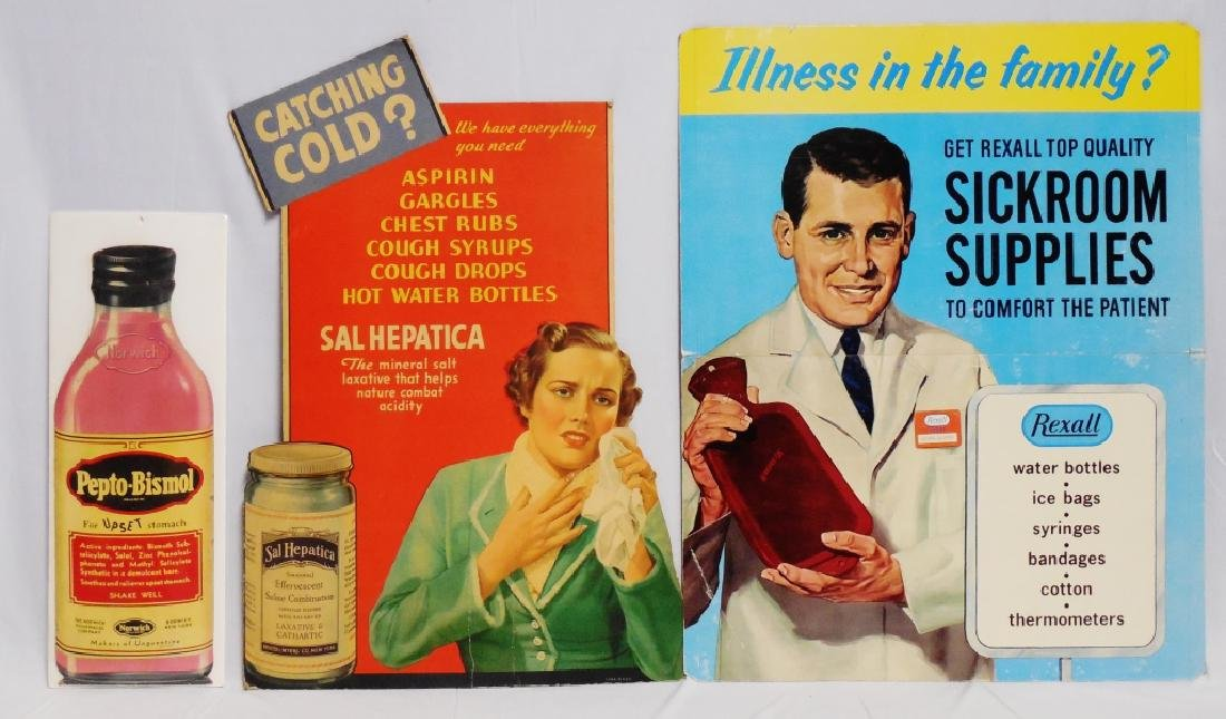 Lot of 3 Medicinal Cardboard Advertisements
