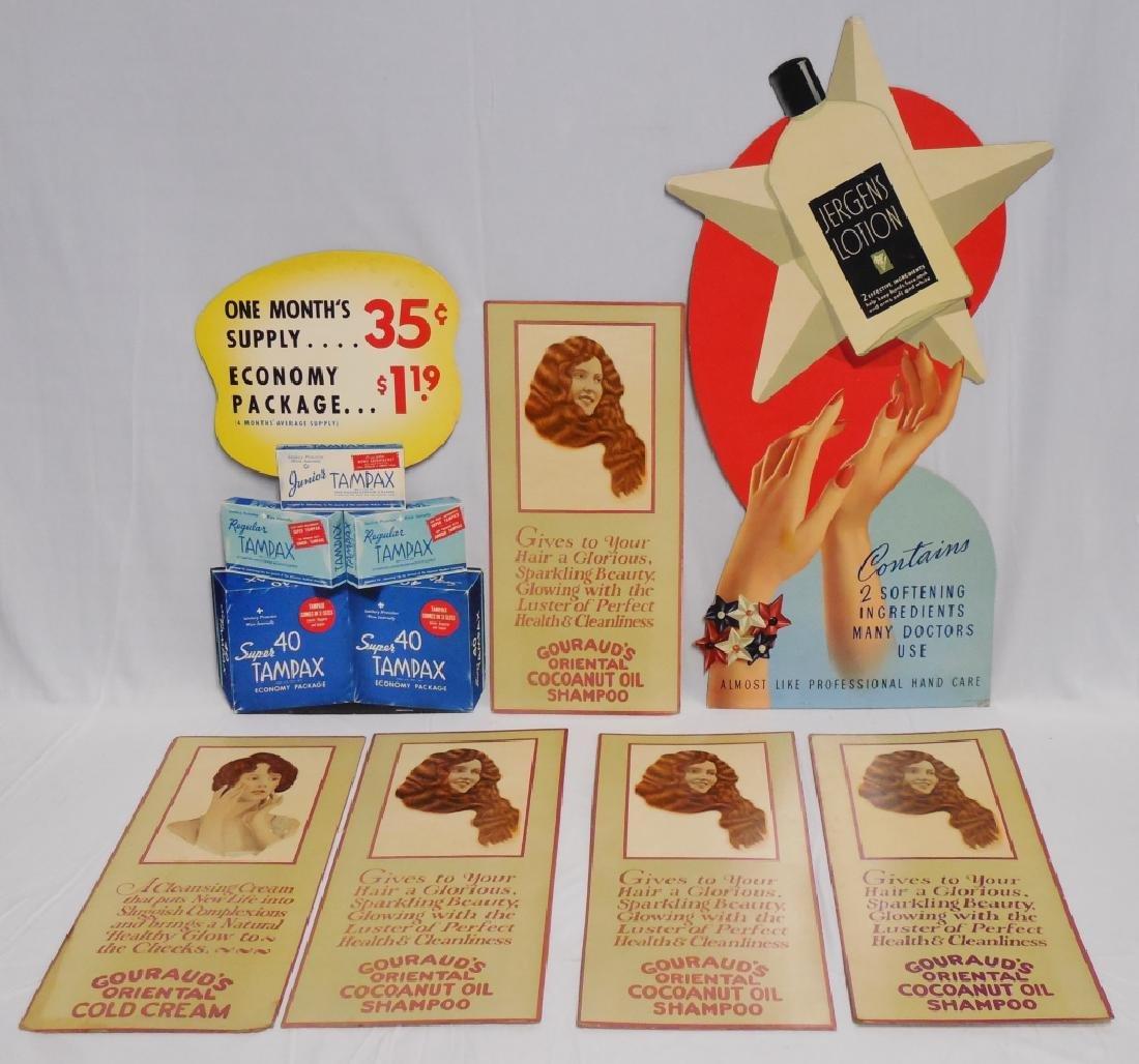 Lot of 7 Feminine Cardboard Advertisements