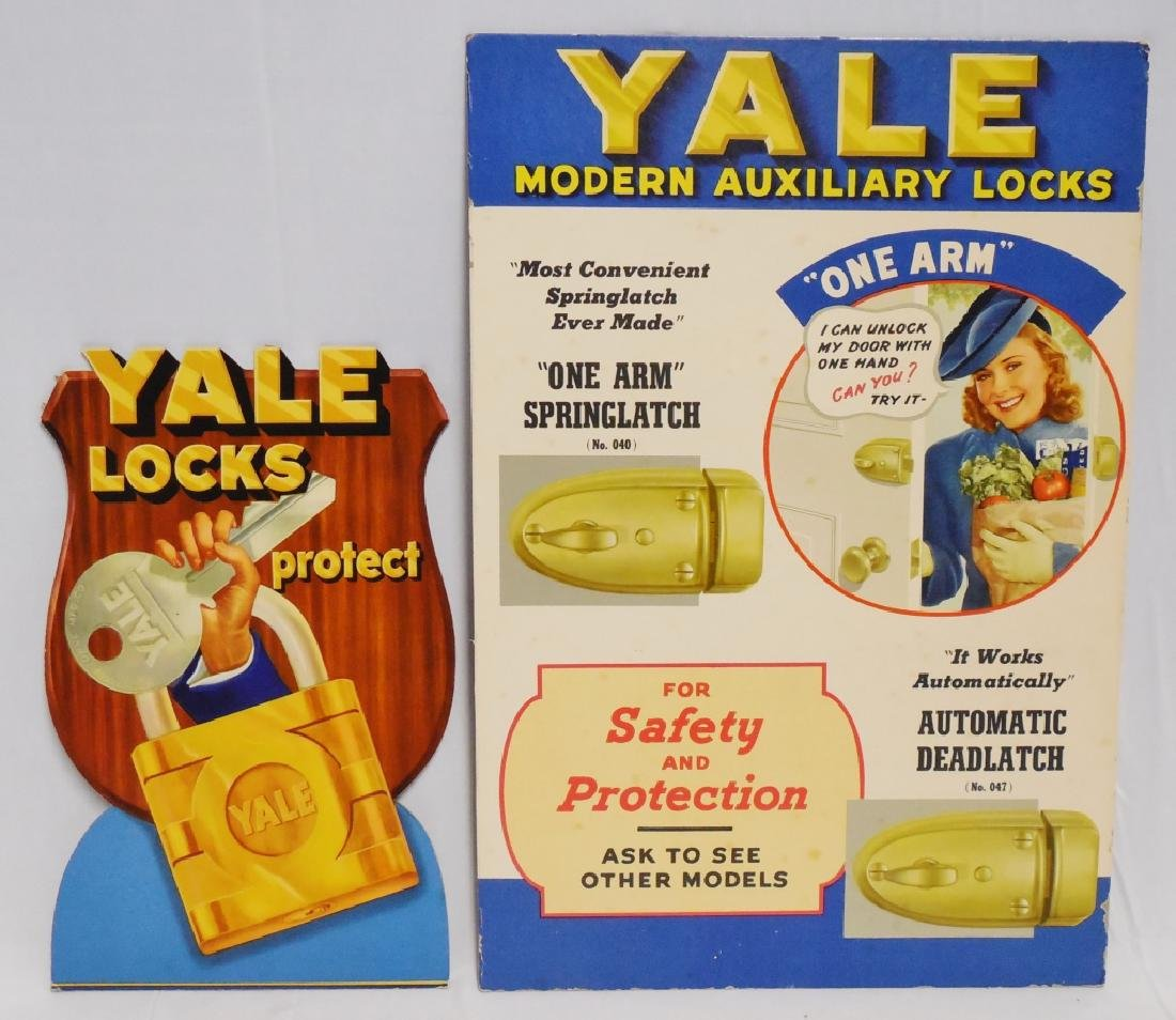 Lot of 2 Cardboard Yale Lock Advertisements