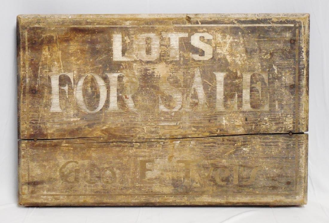 """Lots For Sale"""" Wooden Trade Sign """"Geo. E. Tyel's"""