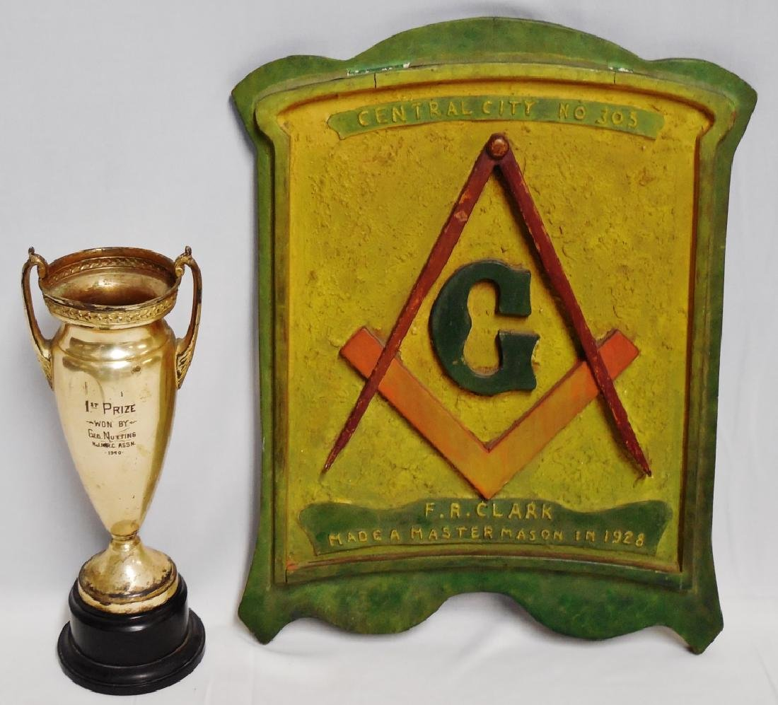 Painted Masonic Plaque and Trophy