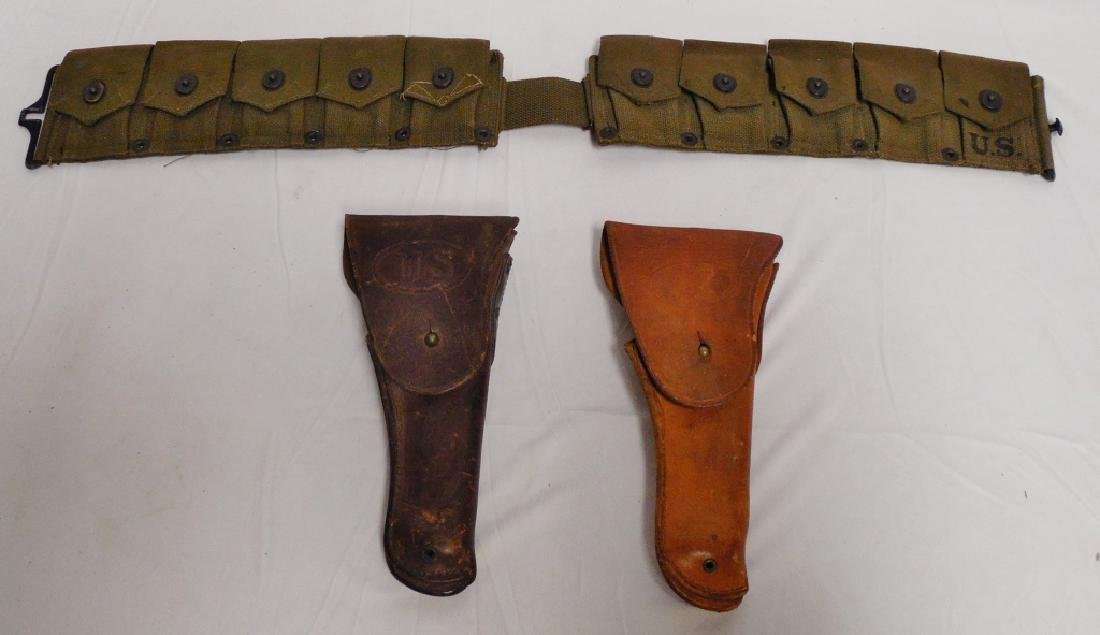 Lot of 2 US Military Leather Gun Holsters