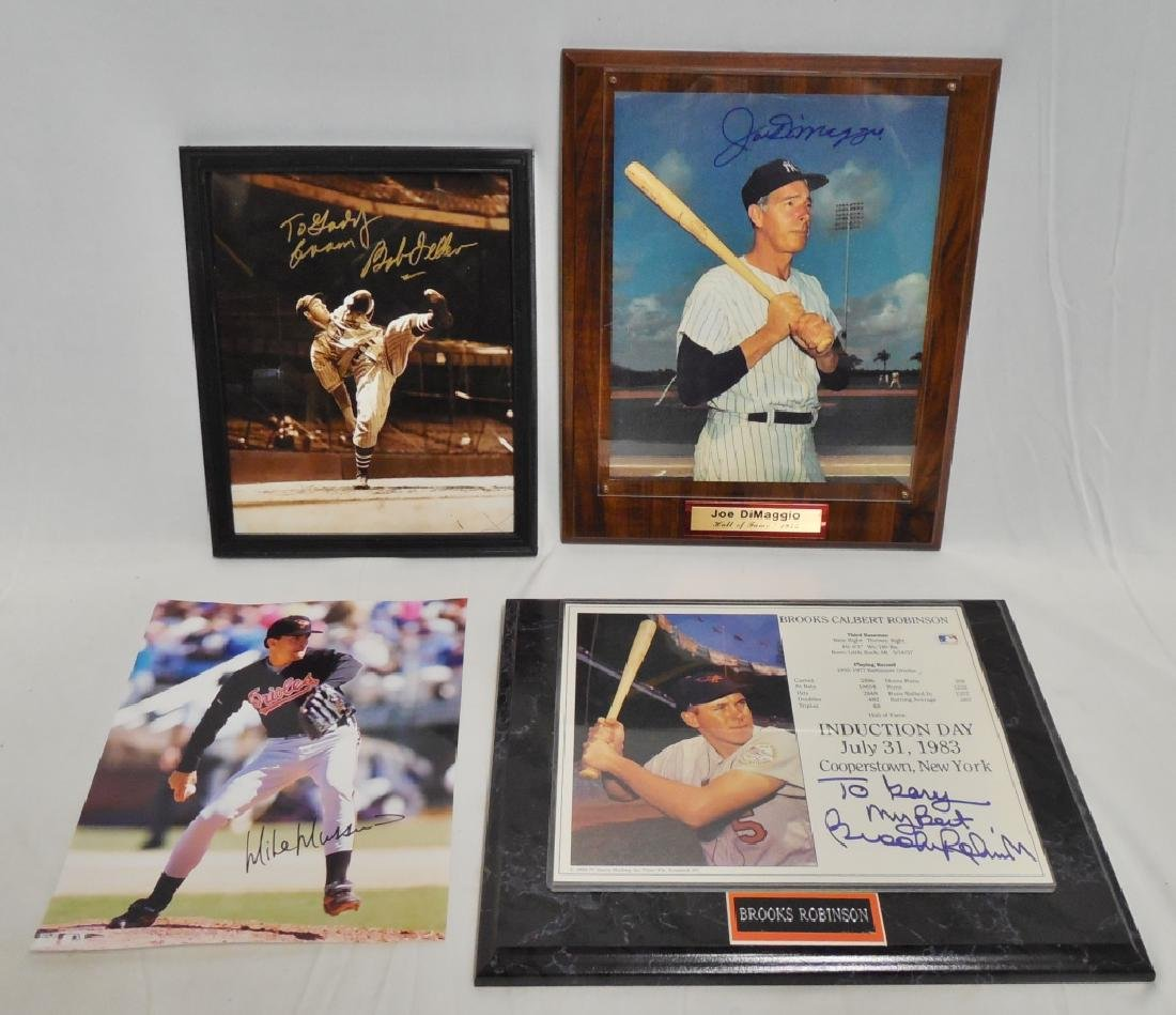 Lot of 4 Signed Baseball Pictures and Plaques