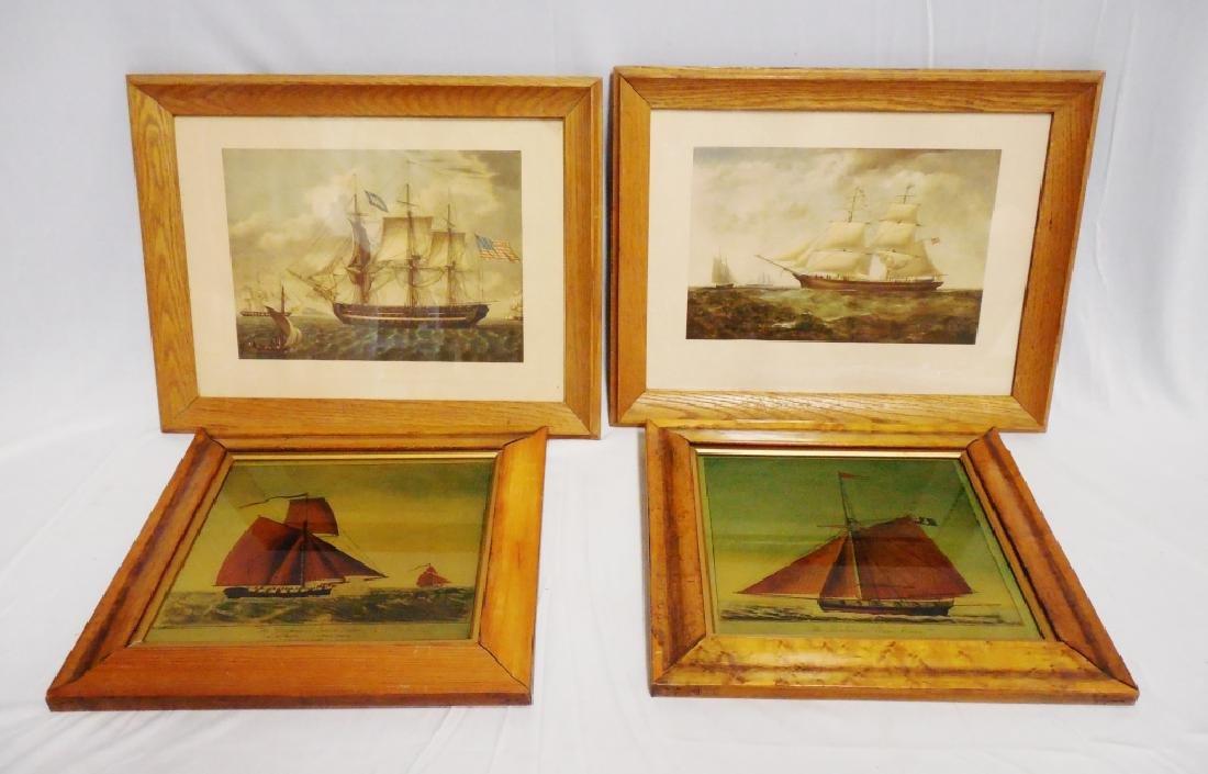 Lot of 4 Framed Ship Prints