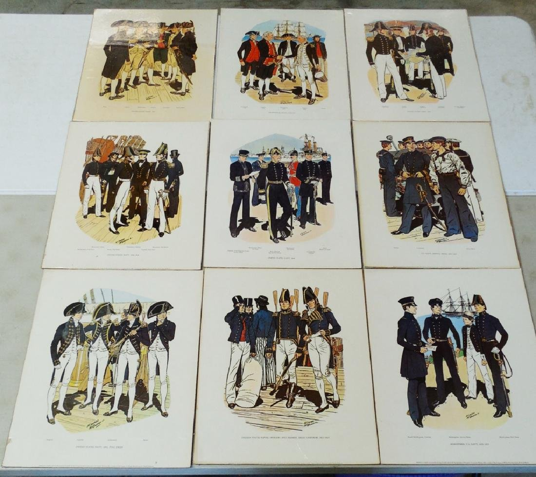 Lot of 9 Navy Military Prints on Hard Board