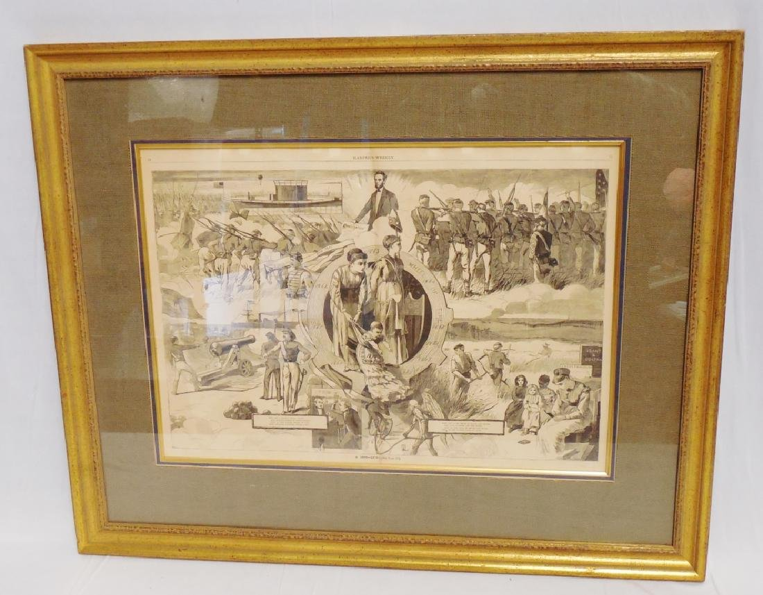 "Framed Harper's Weekly Newspaper Page 30""L x 24""W"