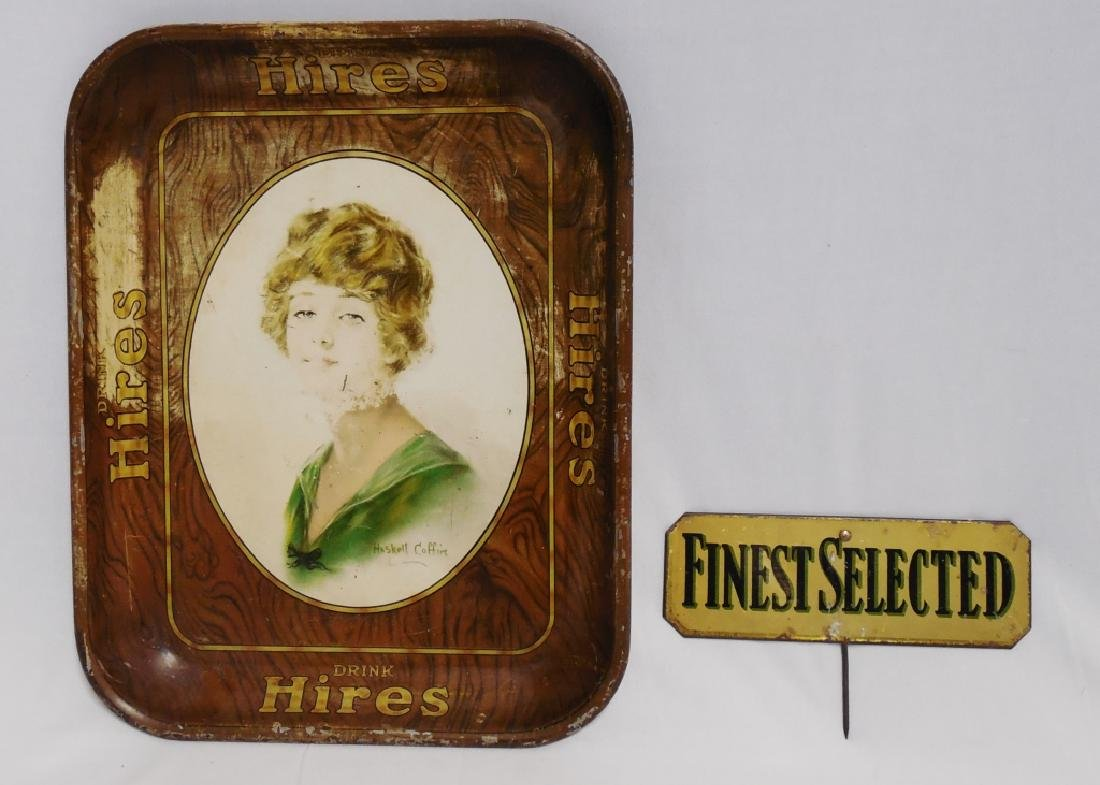 "Serving Tray and ""Finest Selected"" Sign with Stake"