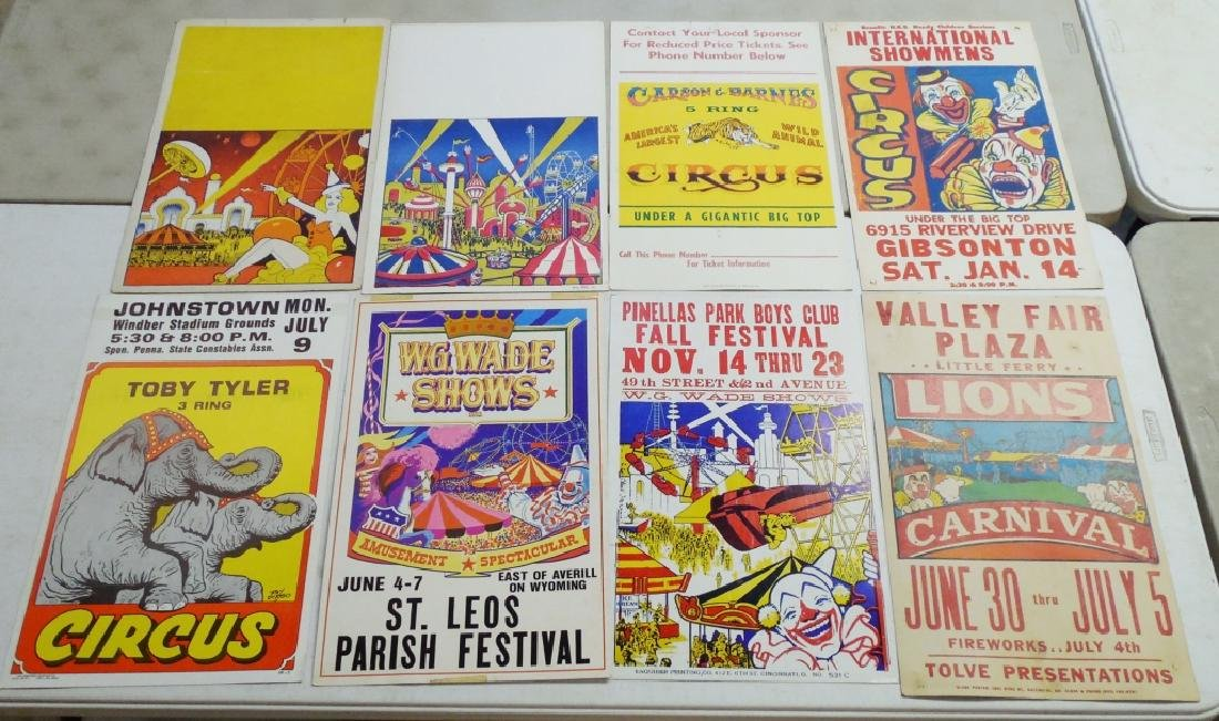 Lot of 8 Carnival, Festival, Circus Posters