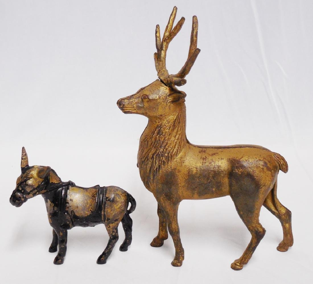 Lot of 2 Cast Iron Banks Donkey and Deer