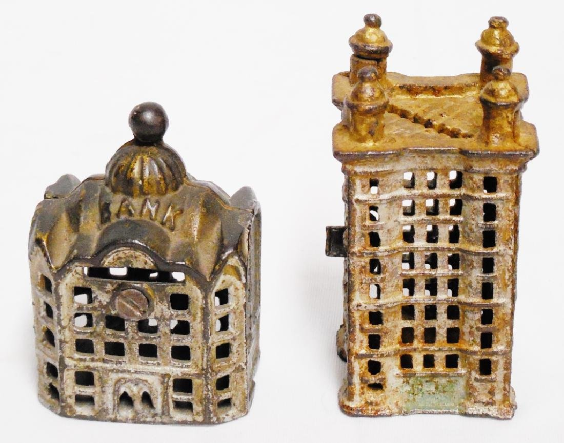 Lot of 2 Cast Iron Banks Buildings - 3