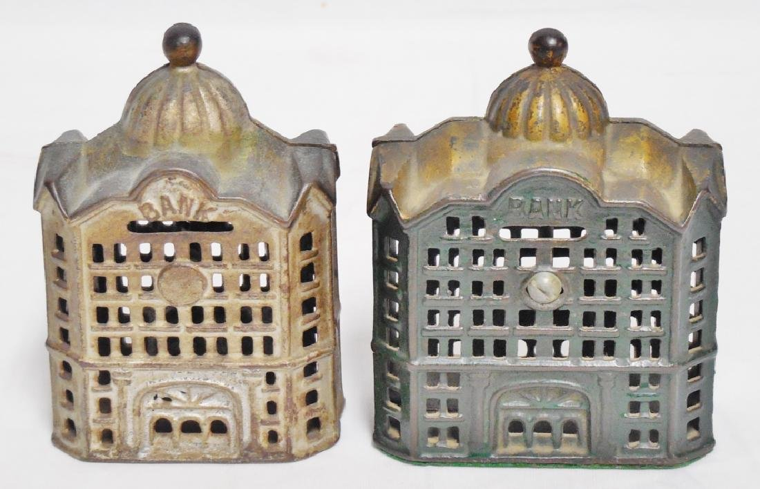 Lot of 2 Cast Iron Banks Buildings