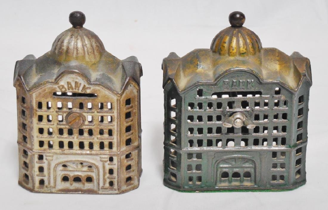 Lot of 2 Cast Iron Banks Buildings - 2