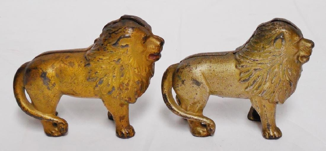 Lot of 2 Cast Iron Banks Lions