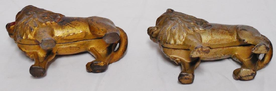 Lot of 2 Cast Iron Banks Lions - 3