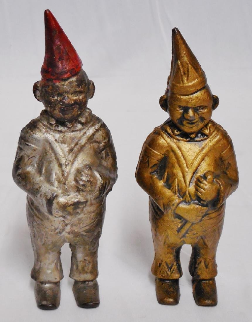 Lot of 2 Cast Iron Banks Men with Pointed Hats