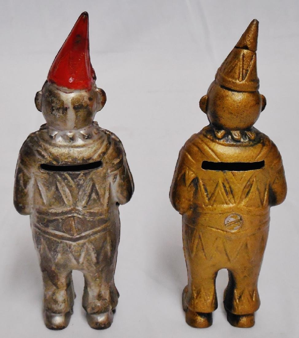 Lot of 2 Cast Iron Banks Men with Pointed Hats - 2
