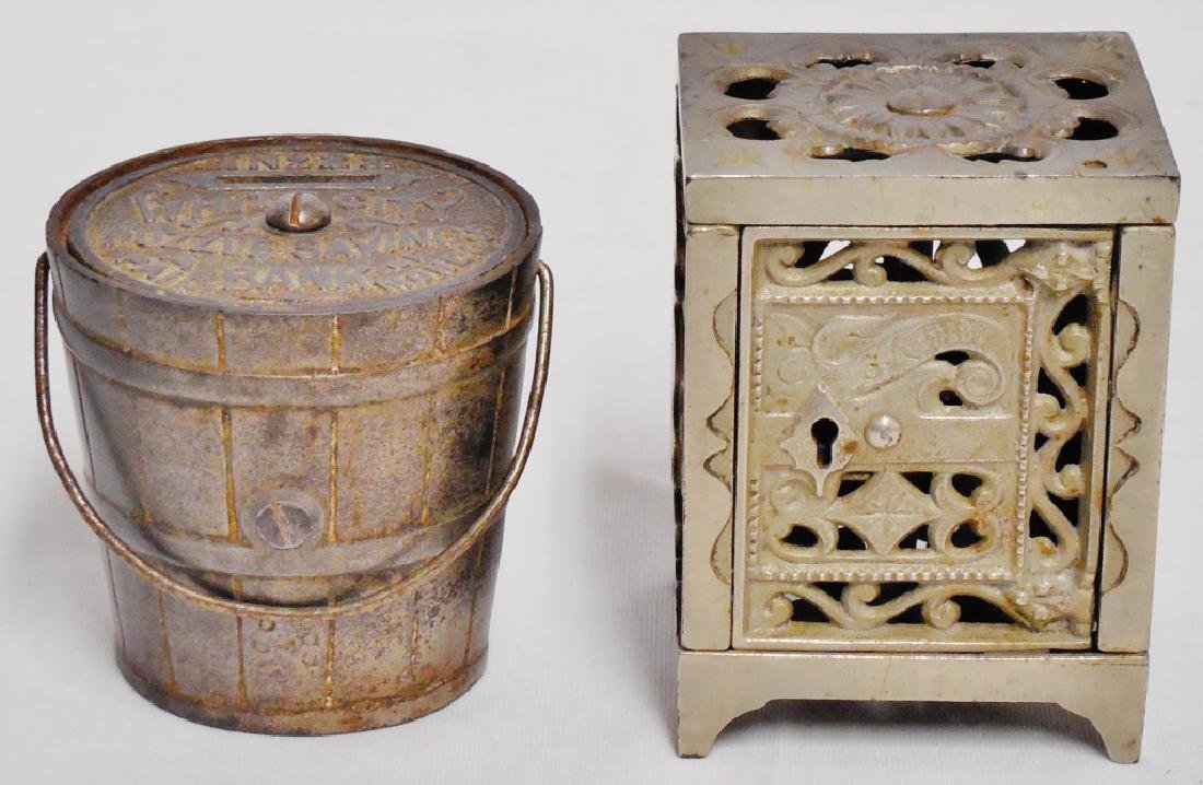 Lot of 2 Cast Iron Banks Pail and Safe