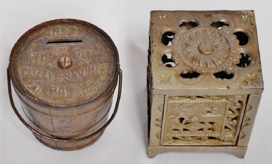Lot of 2 Cast Iron Banks Pail and Safe - 2