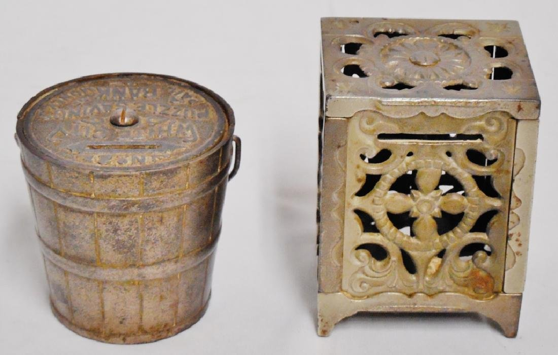 Lot of 2 Cast Iron Banks Pail and Safe - 3