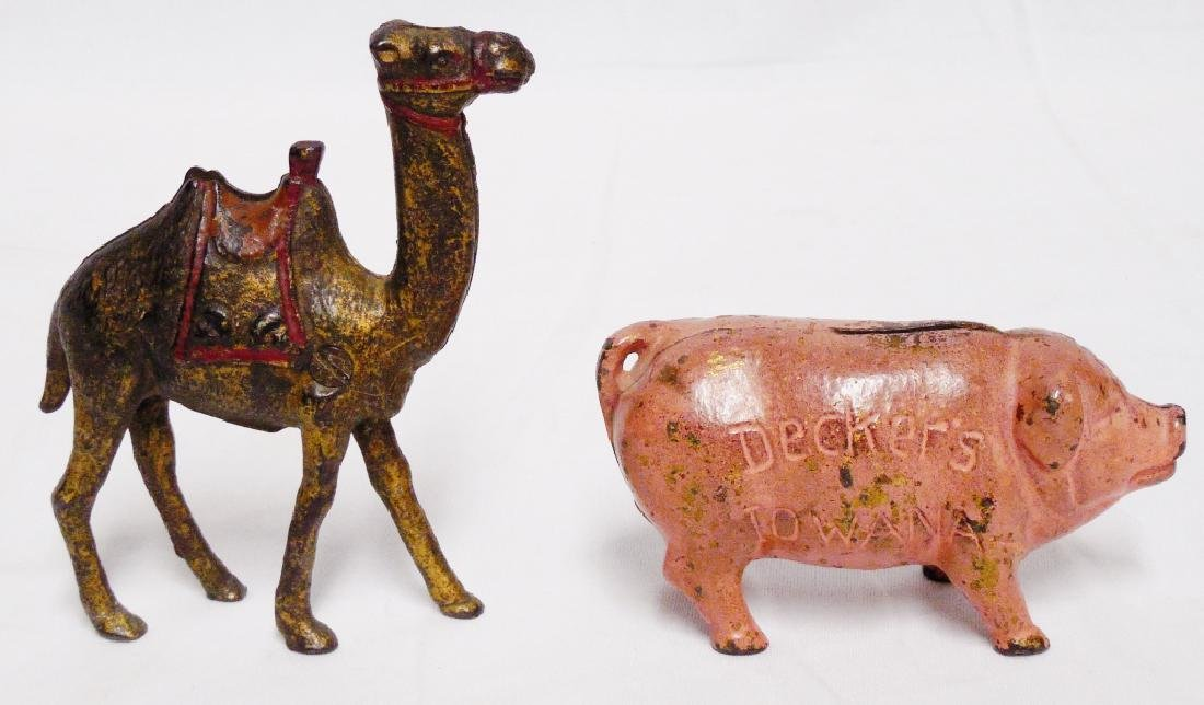 Lot of 2 Cast Iron Banks Camel and Pig