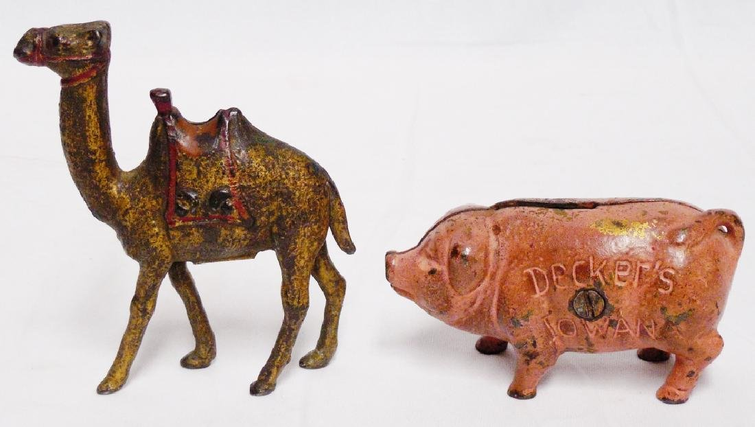 Lot of 2 Cast Iron Banks Camel and Pig - 2