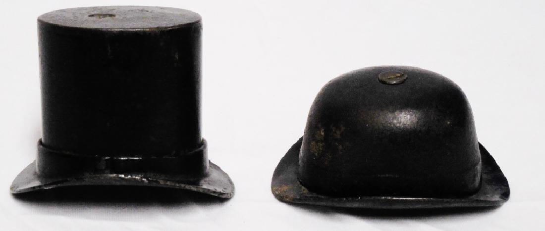 Lot of 2 Cast Iron Banks Gentleman's Hats