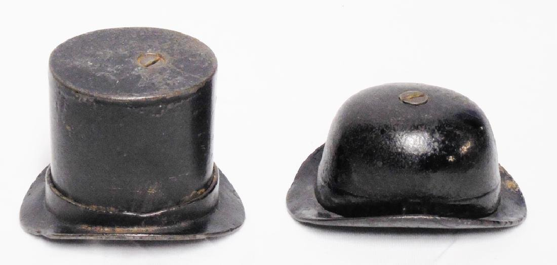 Lot of 2 Cast Iron Banks Gentleman's Hats - 2