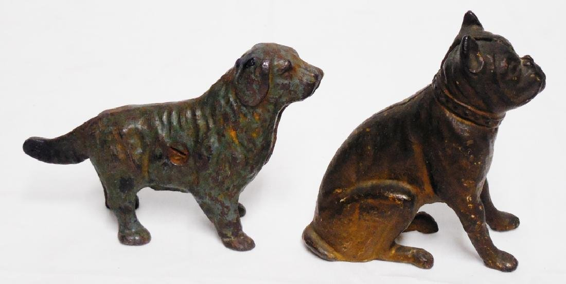 Lot of 2 Cast Iron Banks Dogs