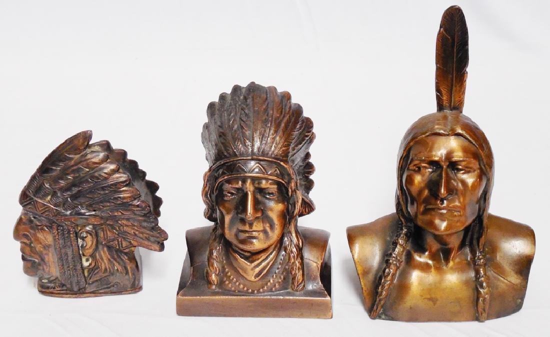 Lot of 3 Native American Chief Head Banks