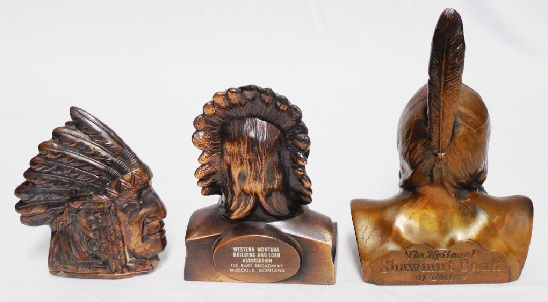 Lot of 3 Native American Chief Head Banks - 2