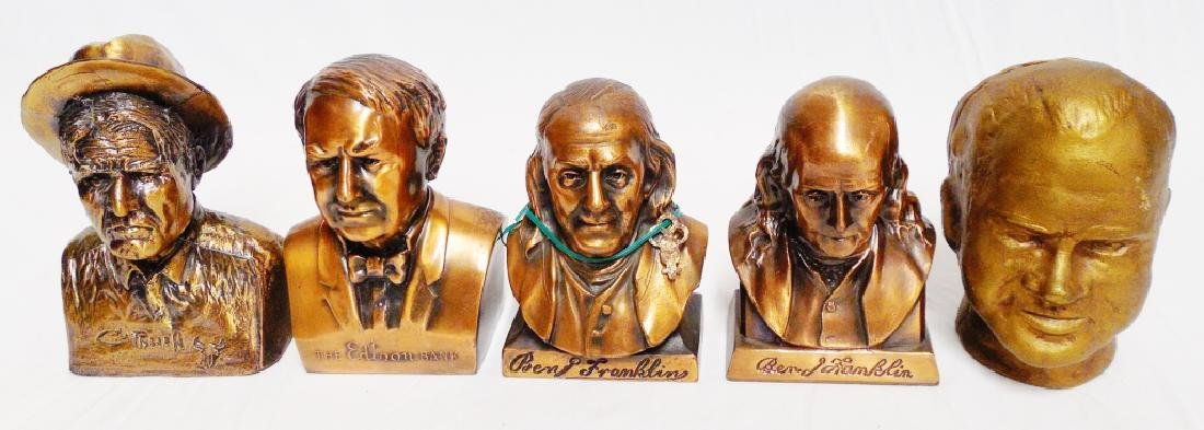 Lot of 5 Metal Historical Figure Banks