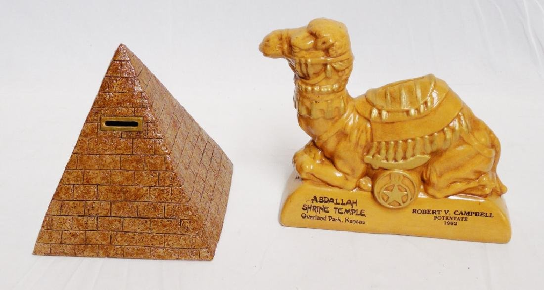 Lot of 2 Egyptian Banks Pyramid and Camel