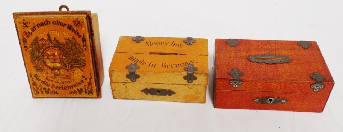 Lot of 3 Wooden Box Banks
