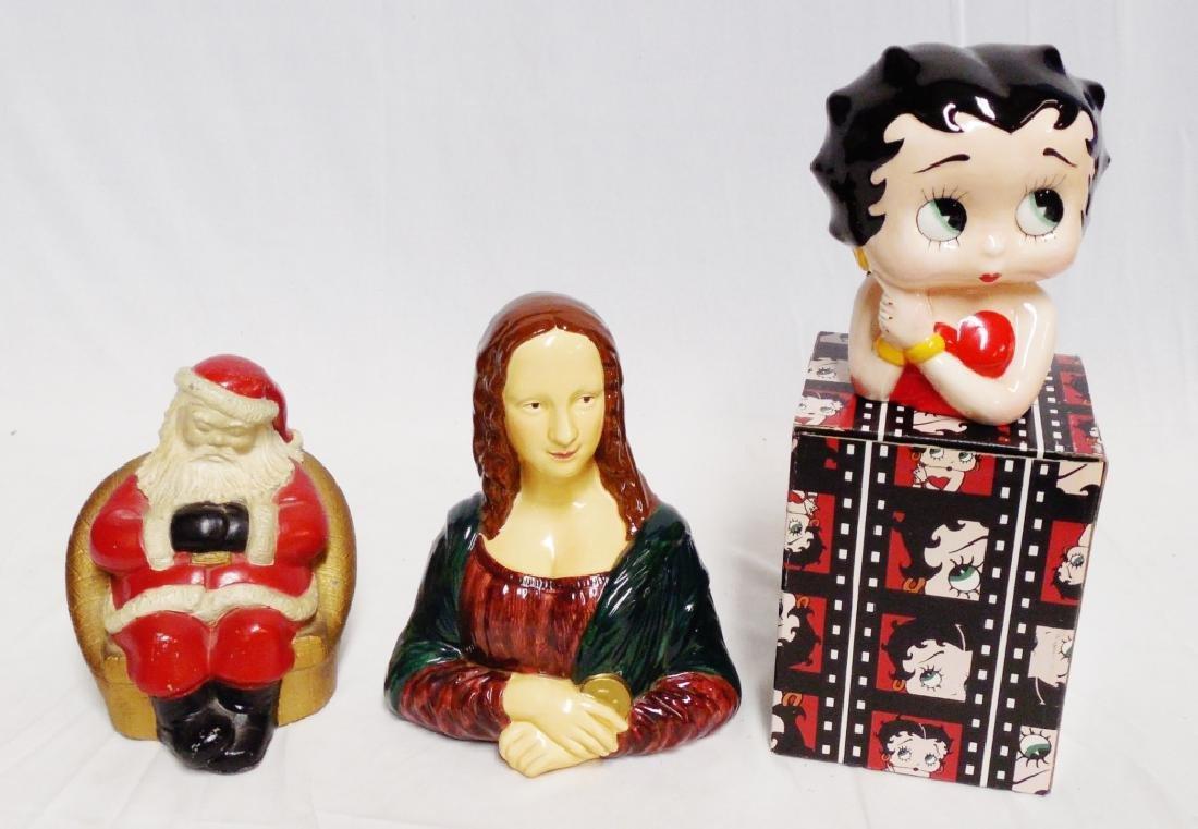 Lot of 3 Banks Santa Claus, Mona Lisa, Betty Boop